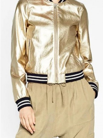 JurllyShe Contrast Striped Zip Up Jacket