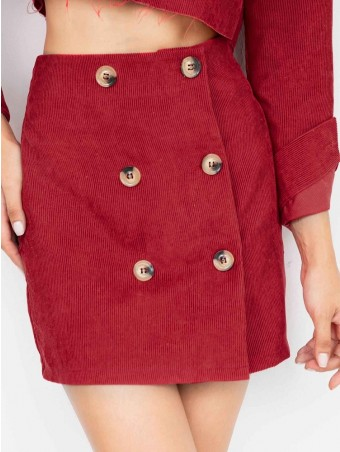 JurllyShe Double Button Corduroy Skirt