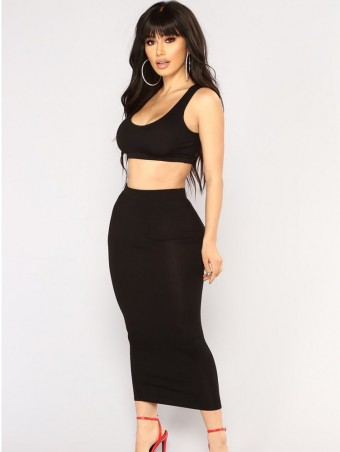 JurllyShe Crop Cami Top & Pencil Skirt Set
