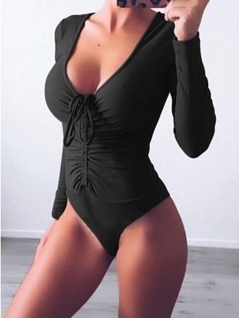 JurllyShe Deep V-neck Criss Bandage Knitted Bodysuit