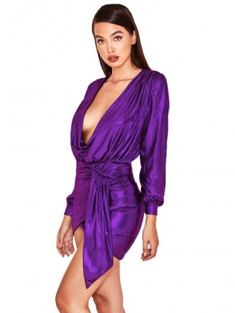 JurllyShe Deep V-Neck Metallic Wrap Dress