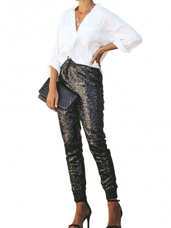 JurllyShe Drawstring Stretch Glitter Sequin Pants