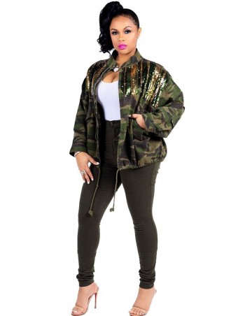 JurllyShe Drawstring Waist Sequins Spliced Camo Jacket