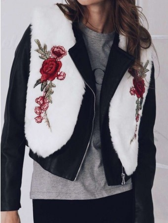JurllyShe Embroidered Flower Faux Fur Vest