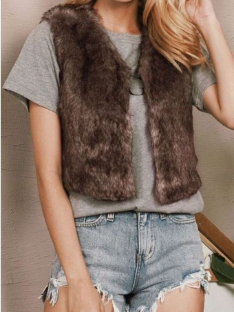 JurllyShe Flocking Warmth Front Open Vest