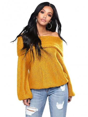 JurllyShe Fold Over Off Shoulder Texture Knit Sweater