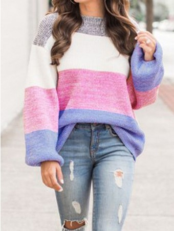 JurllyShe Four Colors Striped Loose Pullover