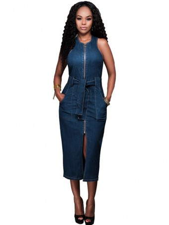 JurllyShe Front Split Zip Up Sleeveless Denim Dress