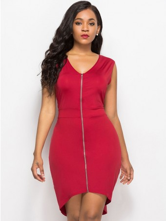JurllyShe Front Zip-Up Bodycon Dress