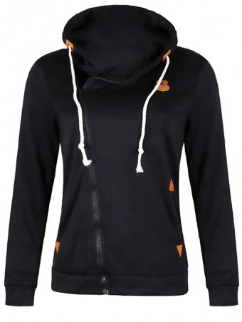 JurllyShe Front Zip Up Drawstring Hooded Jacket