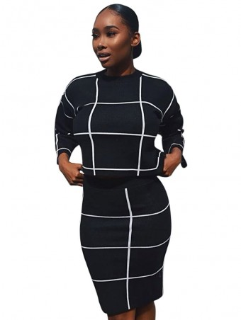JurllyShe Grid Crop Top & Pencil Skirt Two Piece Sets