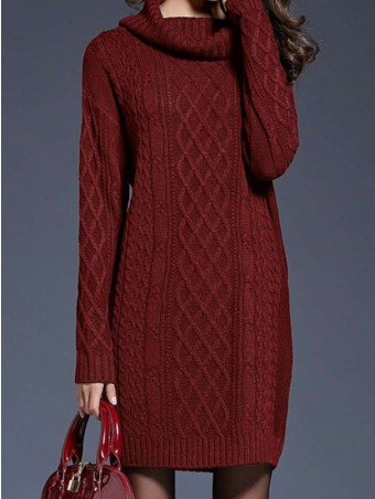 JurllyShe High Neck Knited Sweater Dress