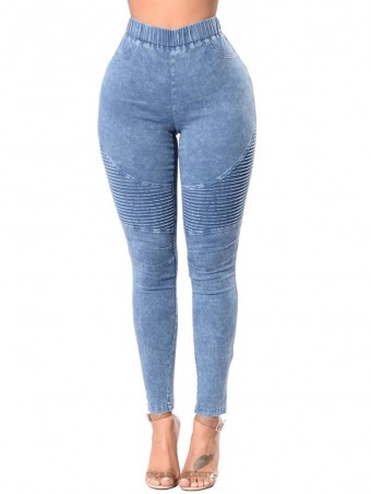 JurllyShe High Waist Skinny Ankle Jeans-Light Blue