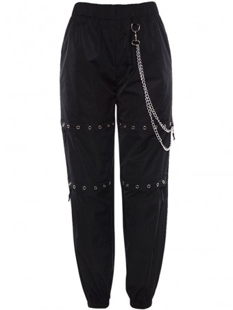 JurllyShe Holes  Hollow Out Metal Chain Harem Pants