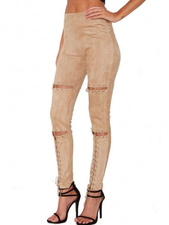JurllyShe Hollow Out Bandage Buckle Suede Fabric Pants