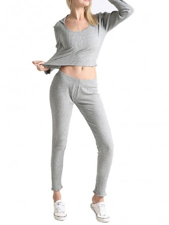 JurllyShe Knitted Hooded Crop Sweatshirt With Pants Loungewear Two Piece Sets