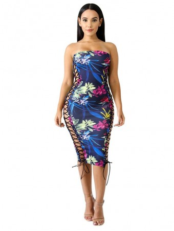JurllyShe Lace Up Flower Print Tube Dress