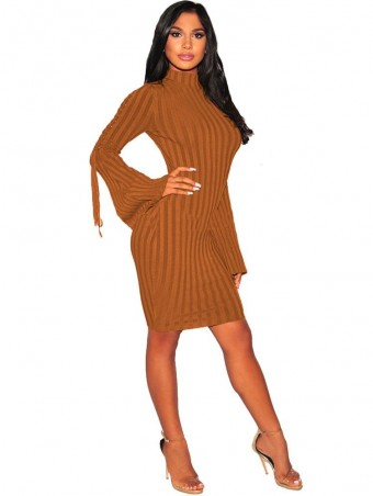 JurllyShe Lace up Sleeve Rib Knitting Dress