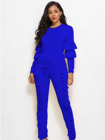 JurllyShe Layer Ruffles Spliced Top With Frilled Pencil Pants Set