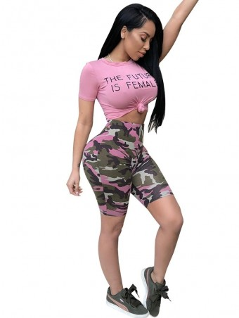 JurllyShe Letter Print Crop T-shirt With Camouflage Shorts