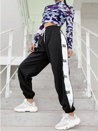 JurllyShe Letter Tape Side Drawstring Waist Pants