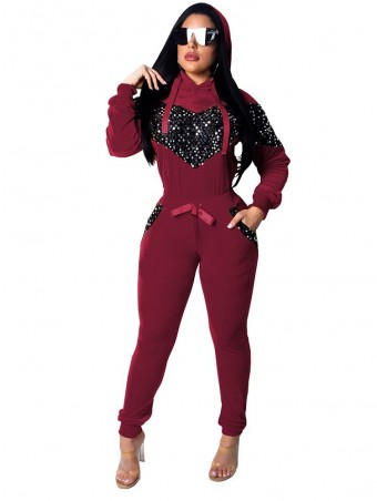 JurllyShe Love Heart Sequined Patchwork Velvet Hooded Top With Sweat Pants