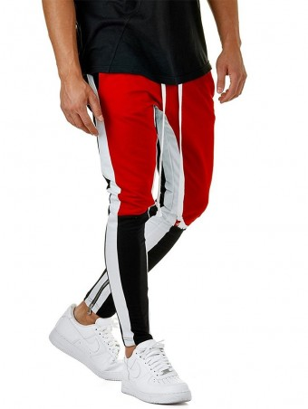 JurllyShe Men Drawstring Waist Leg Zipper Hem Joggers-Red