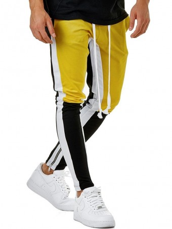 JurllyShe Men Drawstring Waist Leg Zipper Hem Joggers-Yellow