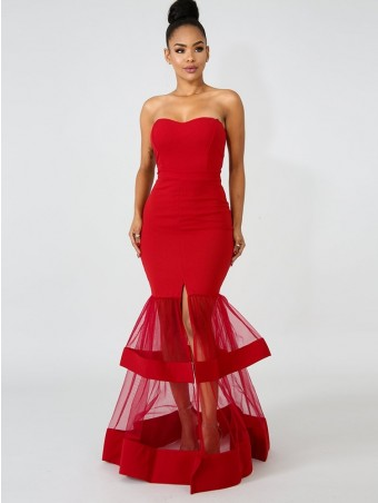 JurllyShe Mesh Spliced Split Mermaid Evening Dress