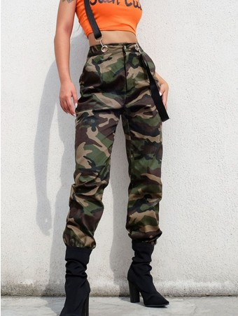 JurllyShe Metal Buckle Hollow Out Camouflage Strap Suspender Pants