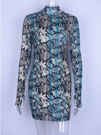 JurllyShe Mock Neck Snake Print Dress