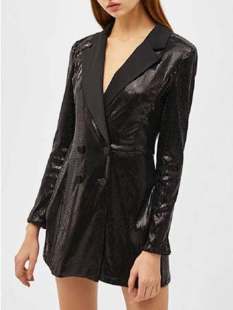 JurllyShe Notched Neck Sequin Blazer Romper