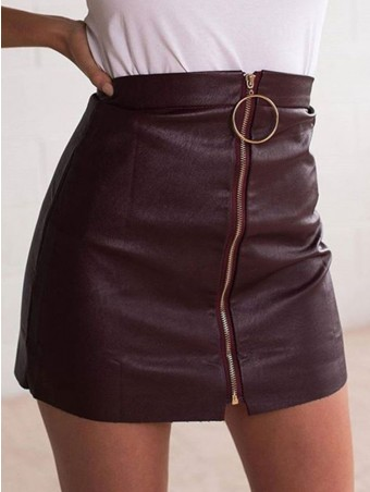JurllyShe O-Ring Zip Front Solid PU Skirt