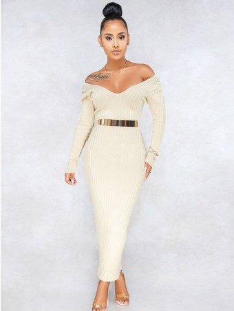 JurllyShe Off Shoulder Ribbed Knit Dress