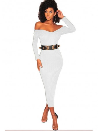 JurllyShe Off Shoulder Ribbed Knit Dress Off The Shoulder Dress