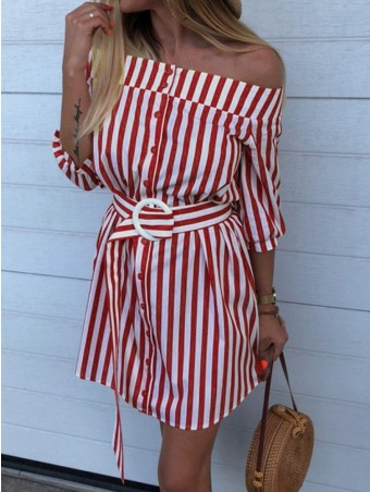 JurllyShe Off The Shoulder Belted Striped Dress