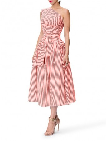 JurllyShe One Shoulder Belted Striped Dress
