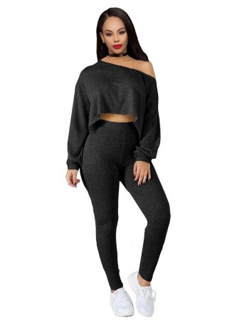 JurllyShe One Shoulder Crop Top With Skinny Pants Suit