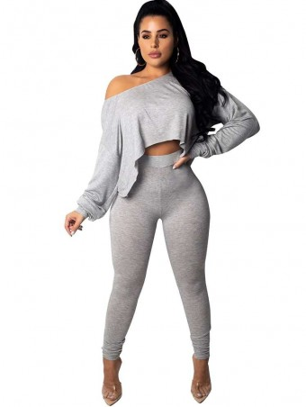 JurllyShe One Shoulder Crop Top With Skinny Pants Suit-Gray
