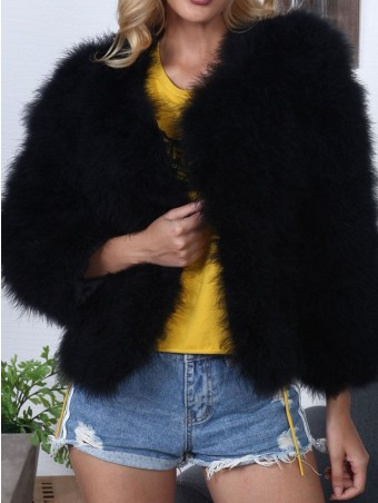 JurllyShe Open Front Solid Faux Fur Coat