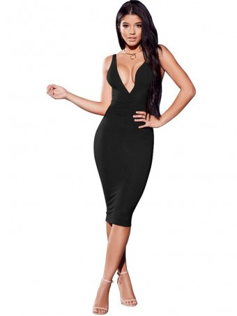JurllyShe Pleated Plunging Neck Bodycon Dress