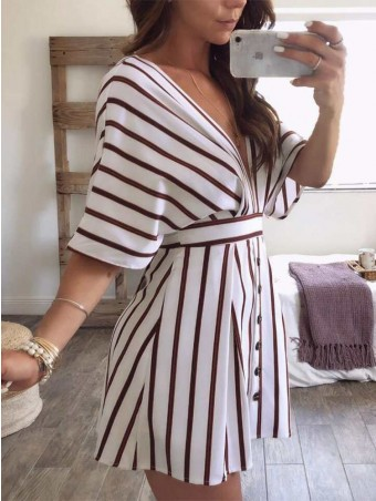 JurllyShe Plung Backless Bow Knot Stripe Dress