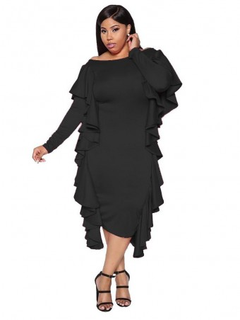 JurllyShe Plus Off Shoulder Tiered Ruffle Trim Dress