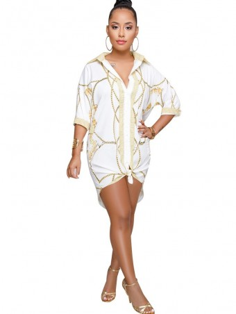 JurllyShe Print Dolphin Hem Shirt Dress