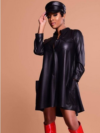 JurllyShe PU Button-up Shirt A-Line Dress