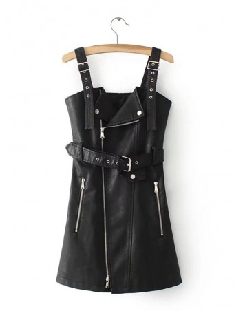 JurllyShe PU Leather Suspender Dress