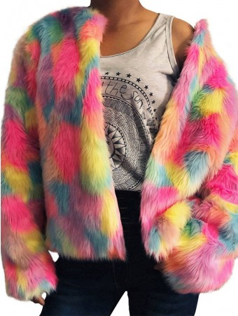 JurllyShe Rainbow Color Faux Fur Winter Cardigan Coat