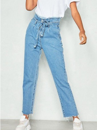 JurllyShe Raw Hem High Waist Jeans With Belt