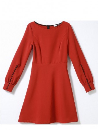 JurllyShe Red Round Neck Mini Dress