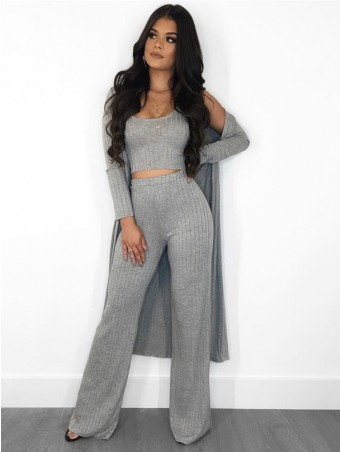 JurllyShe Rib Knit Crop Vets & Pants With Cardigan Three-piece Set